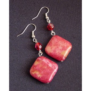 rozdavejradost.cz - Náušnice z korálků – červenožlutý minerál a ... 158ee68d0f2